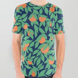 Oranges and Leaves Pattern - Navy Blue All Over Graphic Tee