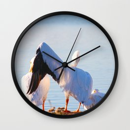 Pelican Wooing I Wall Clock