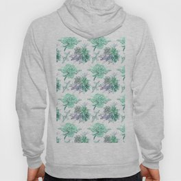 Succulents Mint Green Lavender Lilac Violet Pattern Hoody