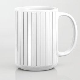 White Black Pinstripes Minimalist Coffee Mug