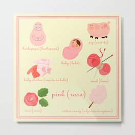 Colors: pink (Los colores: rosa) Metal Print