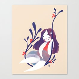 Small girl and plant Canvas Print