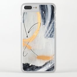 Midnight Time Lapse: a minimal, abstract mixed-media piece by Alyssa Hamilton Art in Gold, Black Clear iPhone Case
