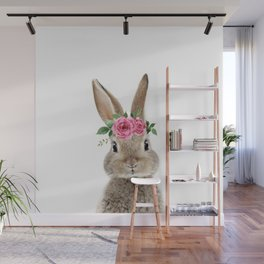 Bunny with Flower Crown Wall Mural