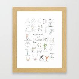 Alphabet of names Framed Art Print