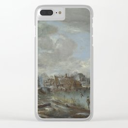 Aert Van Der Neer - A Frozen River Near A Village, With Golfers And Skaters Clear iPhone Case