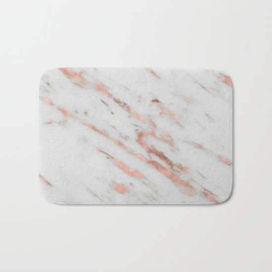 Marble - Rose Gold Marble with White Gold Foil Pattern Bath Mat