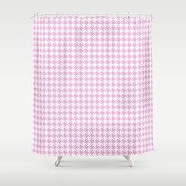 Preppy Patterns™ - Modern Houndstooth - white plus powder pink Shower Curtain