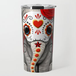 Deep Red Day of the Dead Sugar Skull Baby Elephant Travel Mug