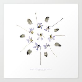 wildflower mandala... purple violets, guinea fowl feathers Art Print