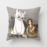 how to train your dragon Throw Pillows featuring How To Train Your Luck Dragon by Lacey Simpson