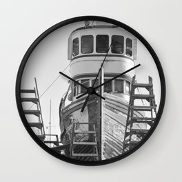 Shipyard Wooden Boat Fishing Ladders Black White Industrial Boatyard Northwest Shipwright Wall Clock