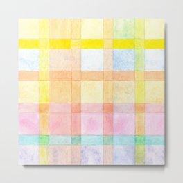Pastel colored Watercolors Check Pattern Metal Print