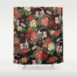 Opossum Floral Pattern (with text) Shower Curtain