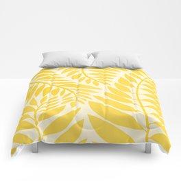 Golden Yellow Leaves Comforters