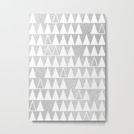 Silver and White Triangles Metal Print