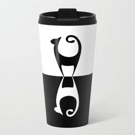 Black Cat, White Cat Metal Travel Mug