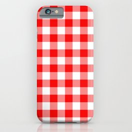 Jumbo Valentine Red Heart Rich Red and White Buffalo Check Plaid iPhone Case