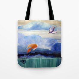 a fish may love a bird but where would they live..... Tote Bag
