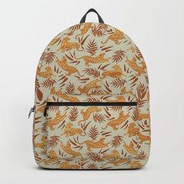 Vintage Golden Tigers Pattern / Big Cats, Leaves, Nature Backpack