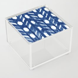 Indigo Geometric Shibori Pattern - Blue Chevrons on White Acrylic Box