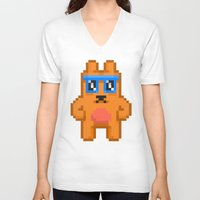 8bit V-neck T-shirts featuring 8Bit RaveBear by Bear Picnic