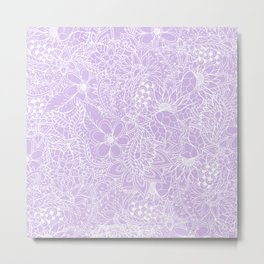 Modern trendy white floral lace hand drawn pattern on pastel lavender Metal Print