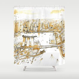 Marina Bay with Coffee Shower Curtain