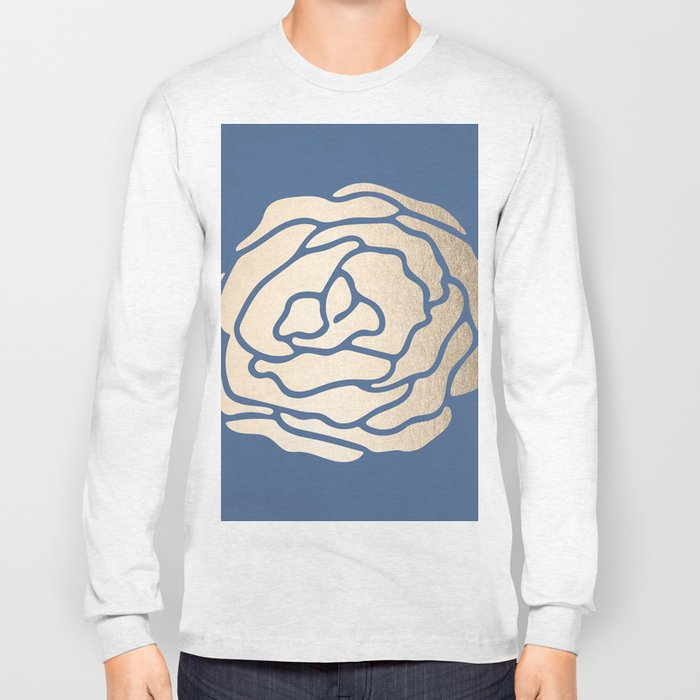 Rose White Gold Sands on Aegean Blue Long Sleeve T-shirt