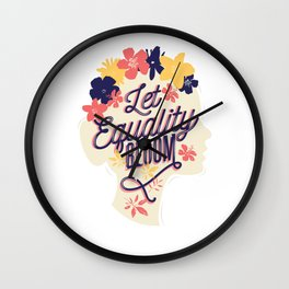 Let Equality Bloom Women's Rights Wall Clock
