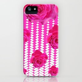 ABSTRACTED CERISE PINK ROSES GARDEN ART iPhone Case