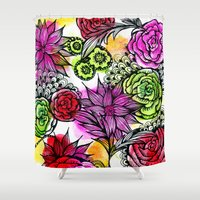 alisa burke Shower Curtains featuring colorful flower doodles by Alisa Burke