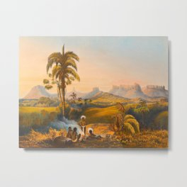 Roraima Mountain Illustrations Of Guyana South America Natural Scenes Hand Drawn Metal Print