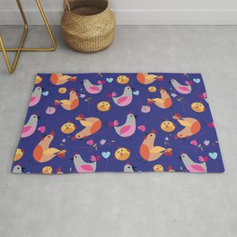 family of hens on the blue background. Rug