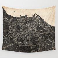 edinburgh Wall Tapestries featuring edinburgh map ink lines 2 by Les petites illustrations