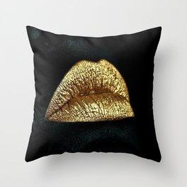 Golden Lips Throw Pillow