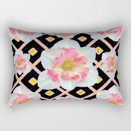 Decorative Pink Daffodils On Black Pattern Rectangular Pillow
