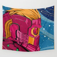 guardians of the galaxy Wall Tapestries featuring Starlord Guardians of the galaxy by W.B.
