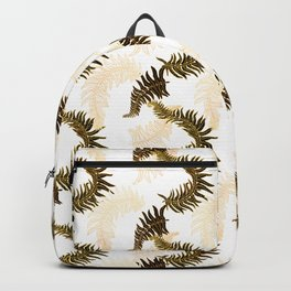 Fern Fronds (Golden Calico) - White Backpack
