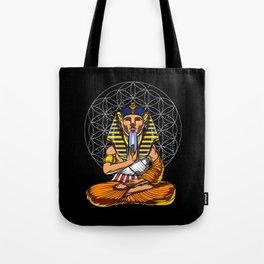 Zen Yoga Egyptian Pharaoh Tutankhamun Meditation Tote Bag