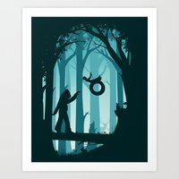 sasquatch Art Prints featuring Sasquatch & Me by Jay Fleck