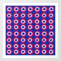 Donut Evil Eye Amulet Talisman - red on blue doughnut by laurabethlove