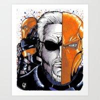 deathstroke Art Prints featuring Deathstroke the Terminator by artbyCurt.