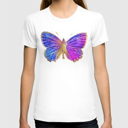 Elegant Gold-Glitter Butterfly in Blue and Purple T-shirt