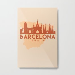BARCELONA SPAIN CITY MAP SKYLINE EARTH TONES Metal Print