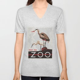 Visit the ZOO 1936 Birds Two Herons America Federal Art Project Poster Advertisement Unisex V-Neck