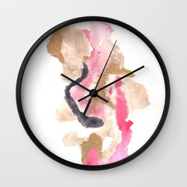 Watercolor Pink Black Flow | [dec-connect] 10. slither Wall Clock