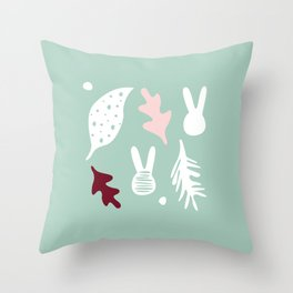 bunnies stain and leavs Throw Pillow