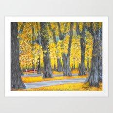 Golden park Art Print