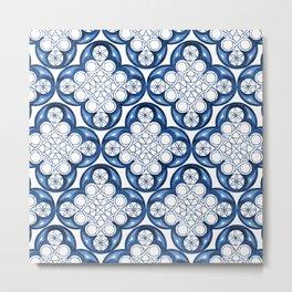 Indigo Blue Moroccan Tile Glam #2 #pattern #decor #art #society6 Metal Print